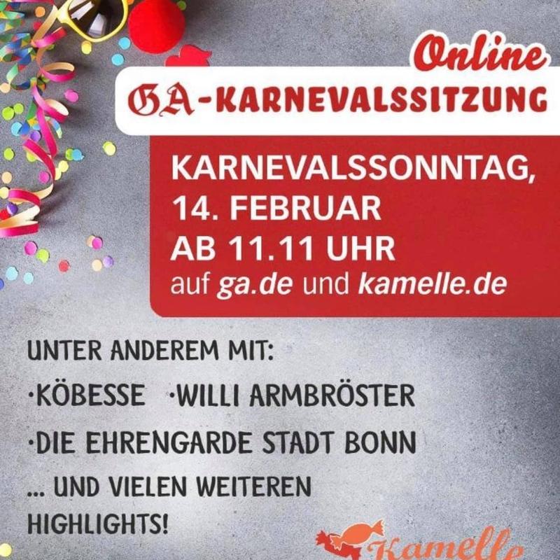 Flyer zur Online-Karnevalssitzung 2021