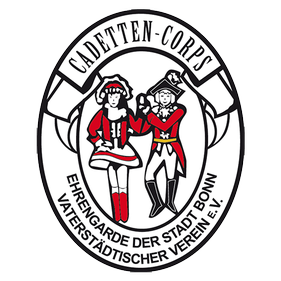 Das Logo des Cadetten-Corps Zeigt 2 Ehrengardisten auf einem Ovalen weißen hintergrund