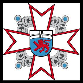 Das Logo der Corps Dargent zeigt das klassiche Blau Rote Bonner Stadtwappen , im Hintergrund befindet sich ein Kreuz mit verzierungen