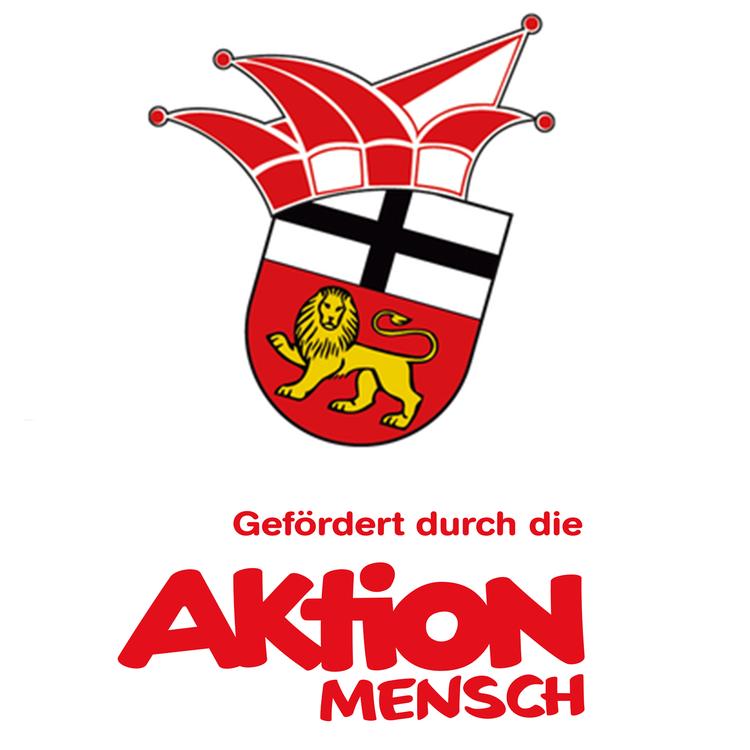 Das Ehrengarde Wappen mit dem Logo der Aktion Mensch mit der Aufschrift gefördert durch die Aktion mensch