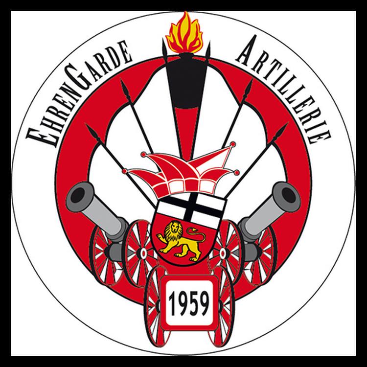 Das Logo der Artillerie zeigt 3 Kanonen im Rauch mit speeren auf einem Roten Kreis mit weißer umrandung
