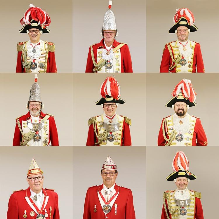 Collage aus Portraitfotos der Formationsführer der Ehrengarde