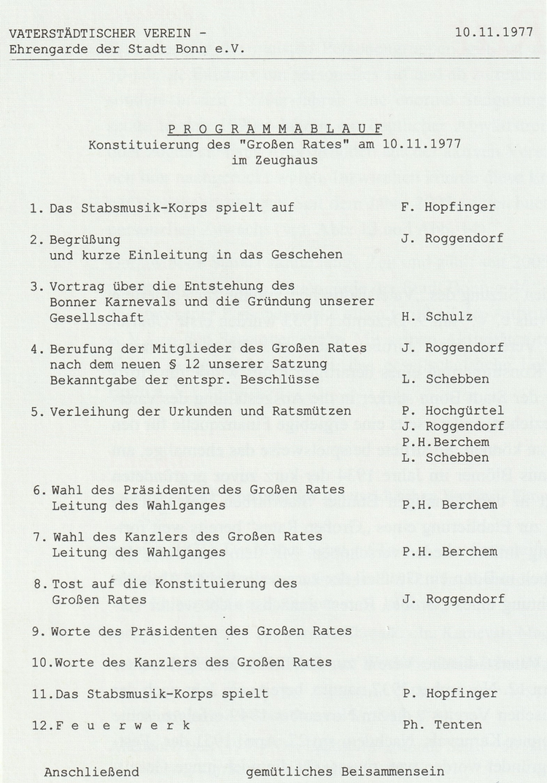 Abbildung vom Programmablauf einer Sitzung des Großen Rates