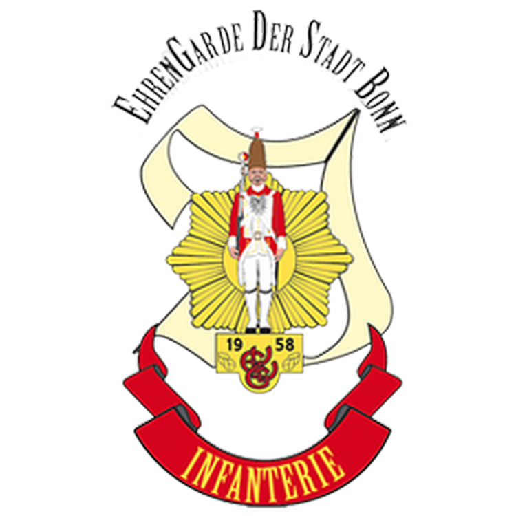 Das Logo der Infanterie zeigt einen Ehrengardisten vor einem Goldenen Stern, im Hintergrund befindet sich ein I , unten befindet sich ein Banner mit der Aufschrift Infanterie