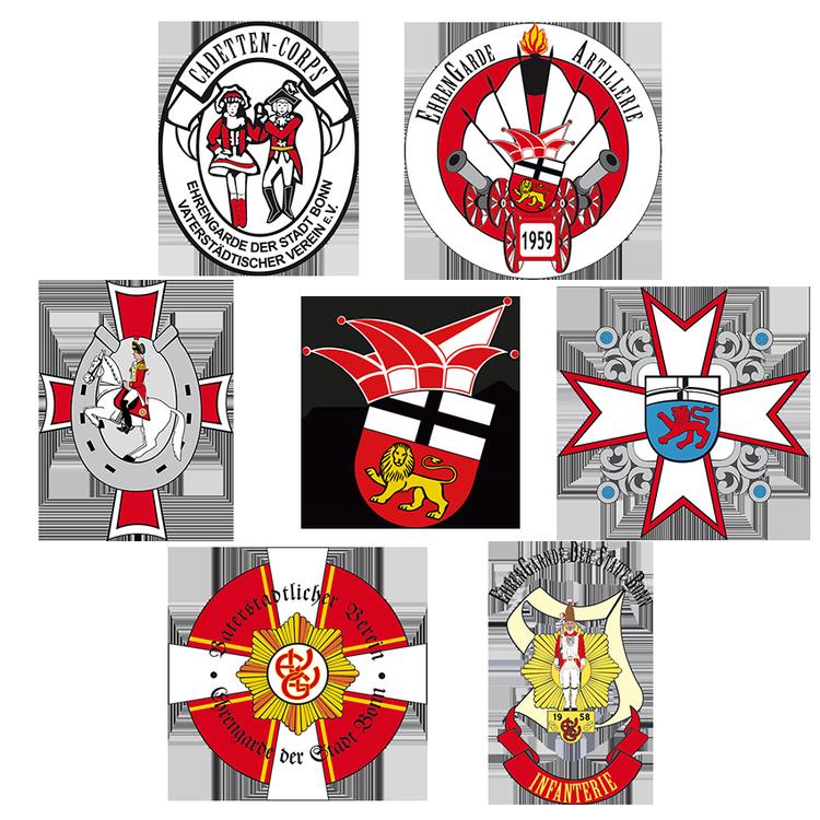 Eine Collage aus den Formationslogos der Ehrengarde